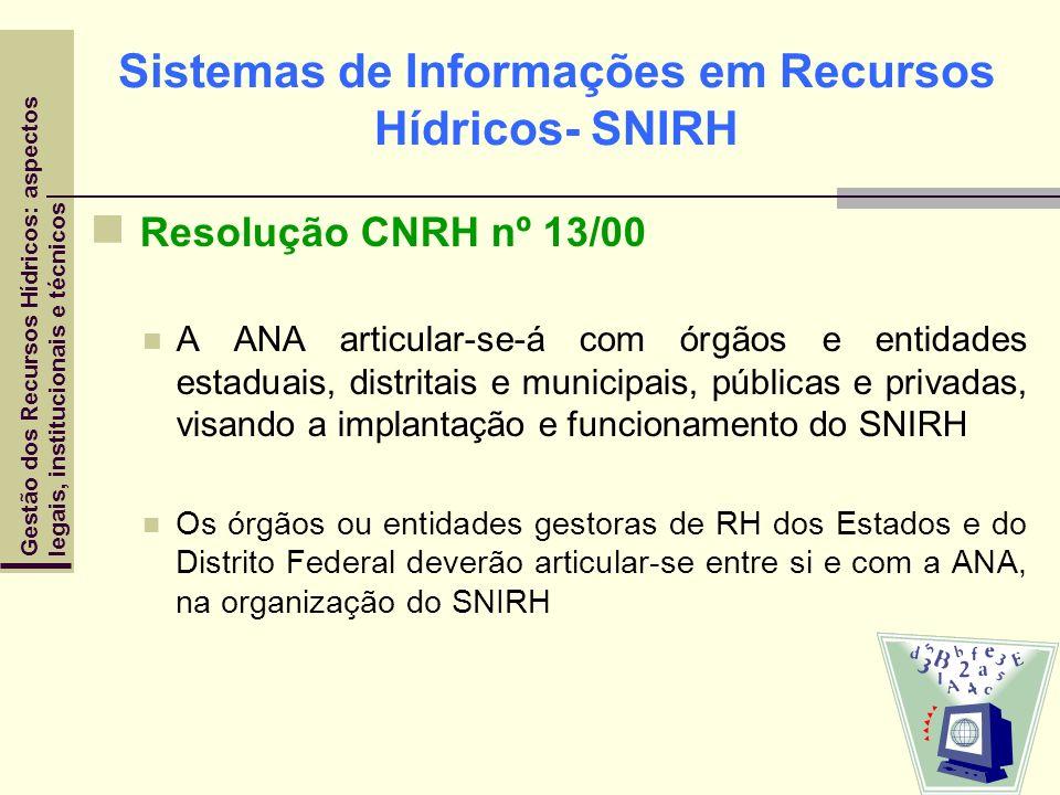 Sistemas de Informações em Recursos Hídricos- SNIRH Resolução CNRH nº 13/00 A ANA articular-se-á com órgãos e entidades estaduais, distritais e munici