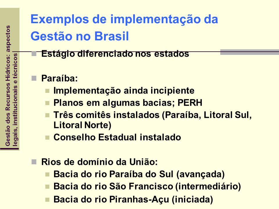 Gestão dos Recursos Hídricos: aspectoslegais, institucionais e técnicos Exemplos de implementação da Gestão no Brasil Estágio diferenciado nos estados