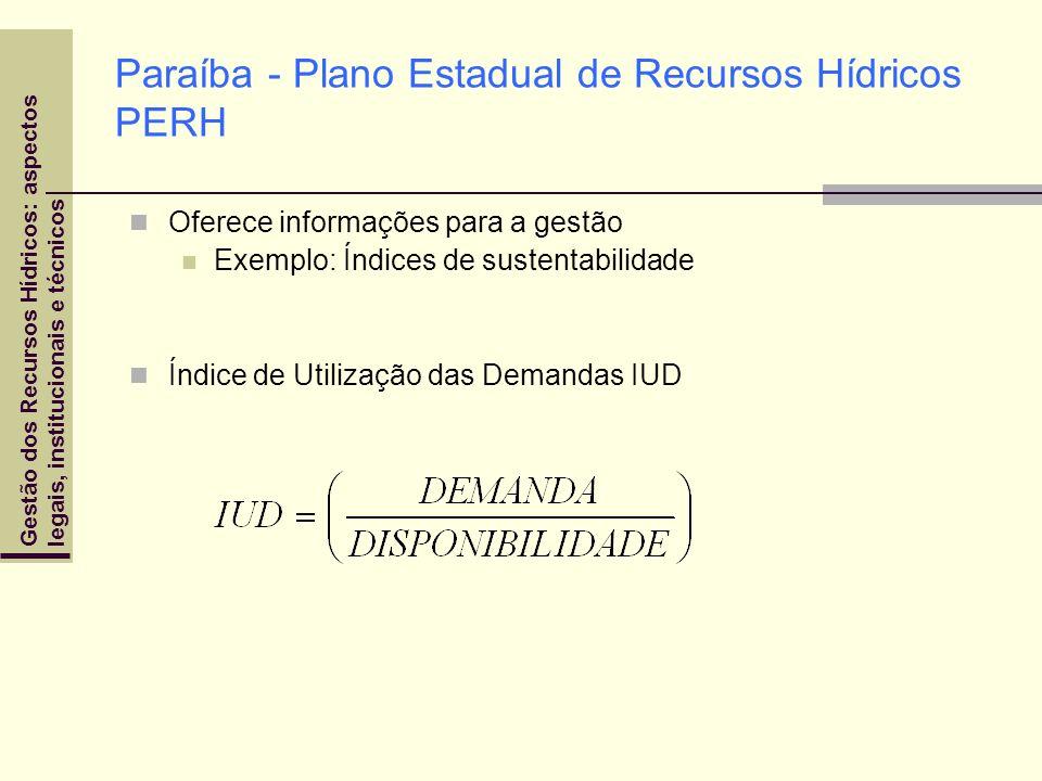 Gestão dos Recursos Hídricos: aspectoslegais, institucionais e técnicos Paraíba - Plano Estadual de Recursos Hídricos PERH Oferece informações para a