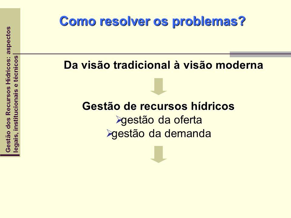 Gestão dos Recursos Hídricos: aspectoslegais, institucionais e técnicos Como resolver os problemas? Da visão tradicional à visão moderna Gestão de rec