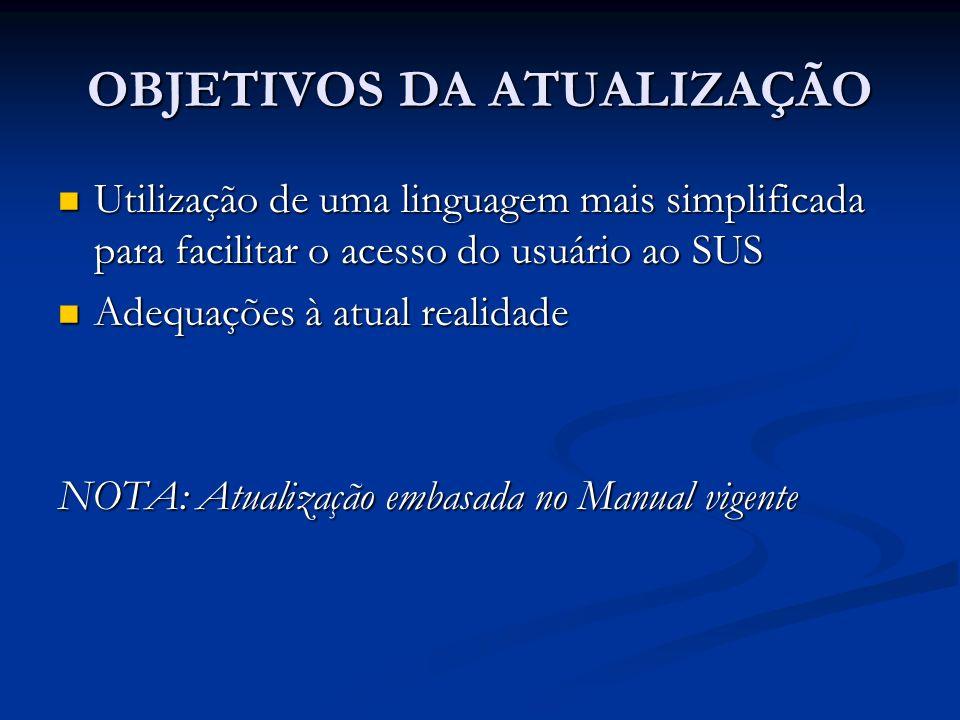 OBJETIVOS DA ATUALIZAÇÃO Utilização de uma linguagem mais simplificada para facilitar o acesso do usuário ao SUS Utilização de uma linguagem mais simp