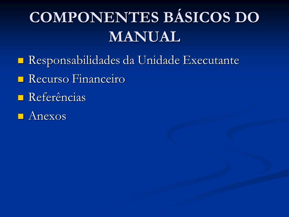COMPONENTES BÁSICOS DO MANUAL Responsabilidades da Unidade Executante Responsabilidades da Unidade Executante Recurso Financeiro Recurso Financeiro Re