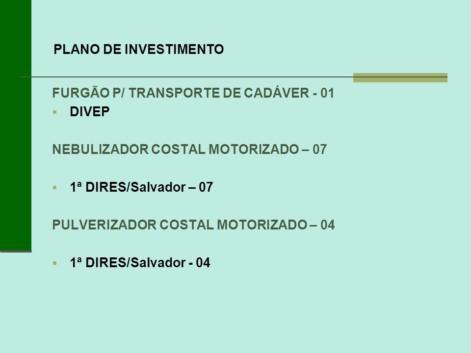 FURGÃO P/ TRANSPORTE DE CADÁVER - 01 DIVEP NEBULIZADOR COSTAL MOTORIZADO – 07 1ª DIRES/Salvador – 07 PULVERIZADOR COSTAL MOTORIZADO – 04 1ª DIRES/Salv