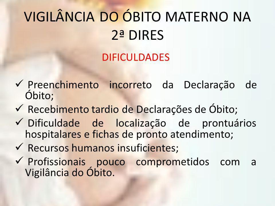 VIGILÂNCIA DO ÓBITO MATERNO NA 2ª DIRES DIFICULDADES Preenchimento incorreto da Declaração de Óbito; Recebimento tardio de Declarações de Óbito; Dific