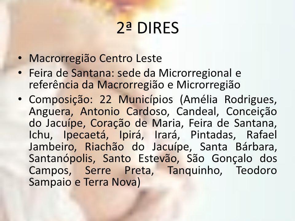 2ª DIRES Macrorregião Centro Leste Feira de Santana: sede da Microrregional e referência da Macrorregião e Microrregião Composição: 22 Municípios (Amé