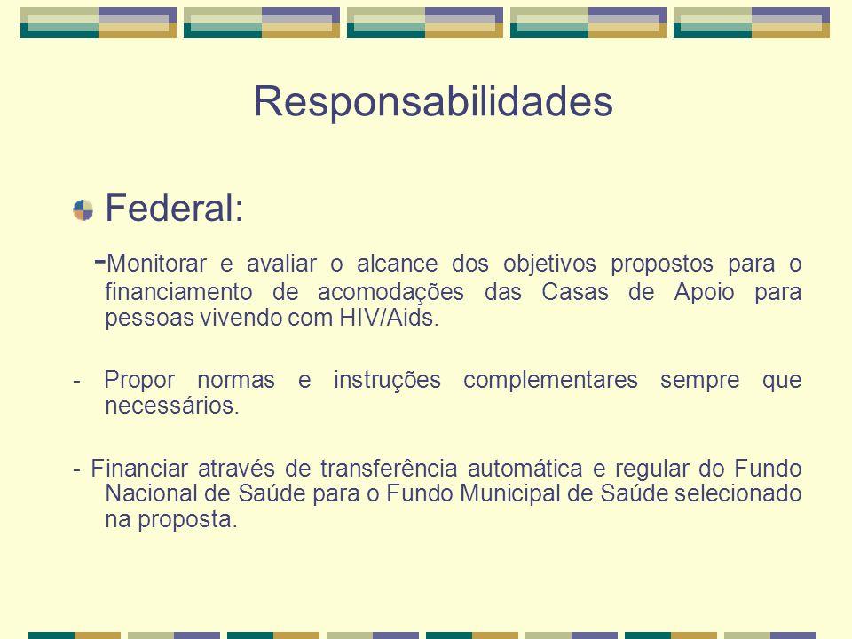 Responsabilidades Federal: - Monitorar e avaliar o alcance dos objetivos propostos para o financiamento de acomodações das Casas de Apoio para pessoas vivendo com HIV/Aids.