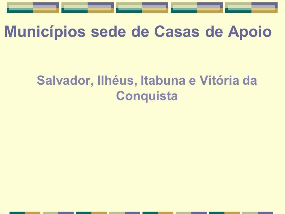 Municípios sede de Casas de Apoio Salvador, Ilhéus, Itabuna e Vitória da Conquista