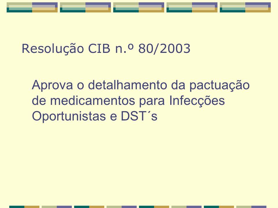 Resolução CIB n.º 80/2003 Aprova o detalhamento da pactuação de medicamentos para Infecções Oportunistas e DST´s