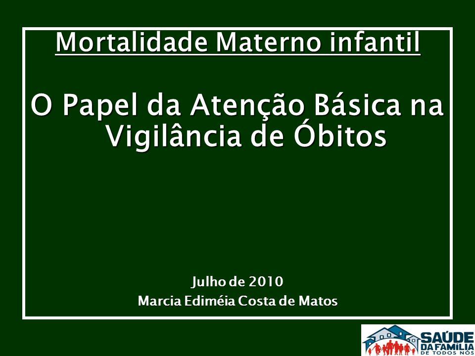 Mortalidade Materno infantil O Papel da Atenção Básica na Vigilância de Óbitos Julho de 2010 Marcia Ediméia Costa de Matos