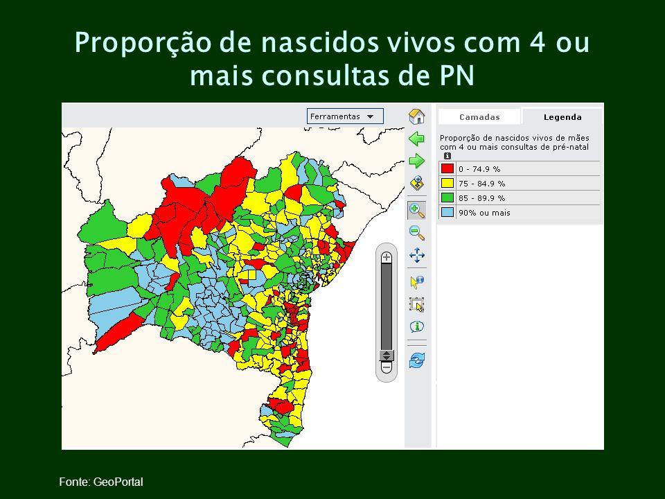 Proporção de nascidos vivos com 4 ou mais consultas de PN Fonte: GeoPortal
