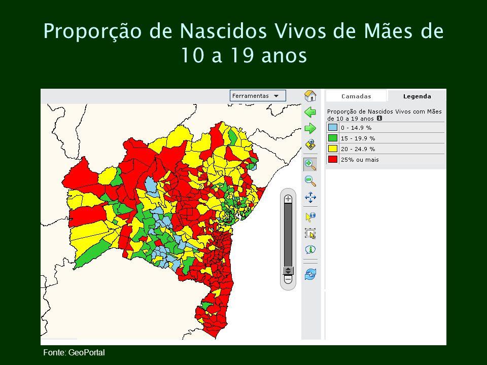 Proporção de Nascidos Vivos de Mães de 10 a 19 anos Fonte: GeoPortal