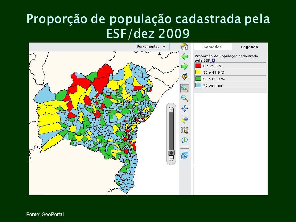 Proporção de população cadastrada pela ESF/dez 2009 Fonte: GeoPortal