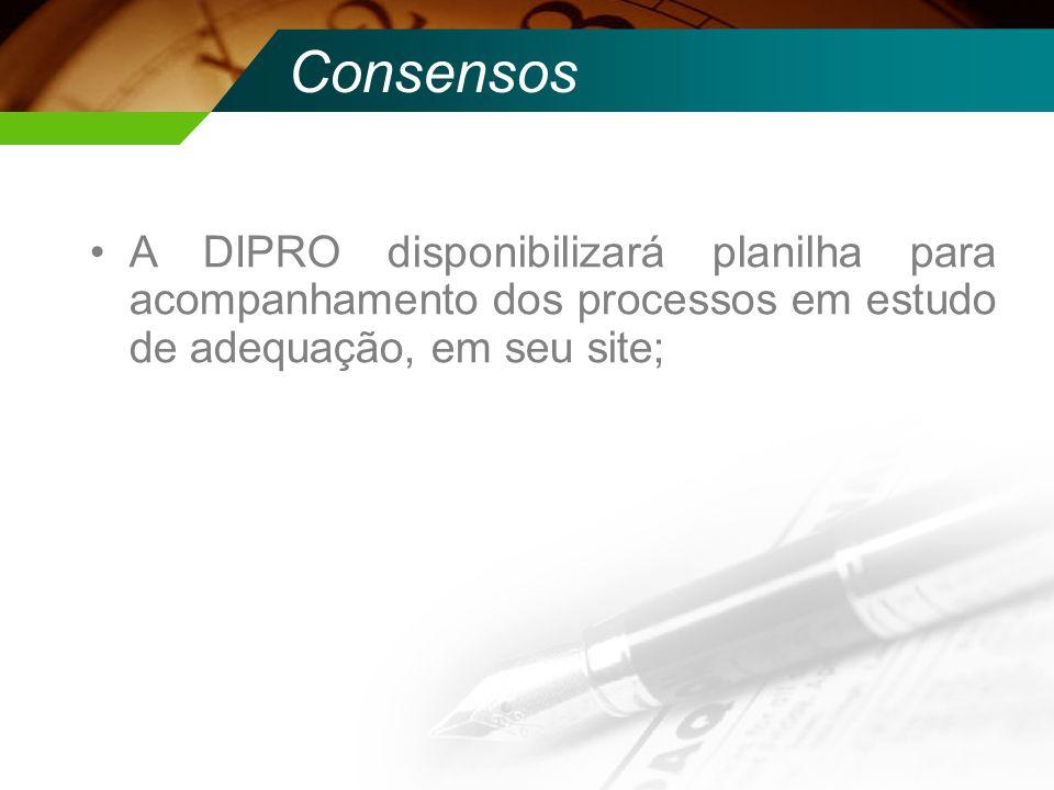 Consensos A DIPRO disponibilizará planilha para acompanhamento dos processos em estudo de adequação, em seu site;