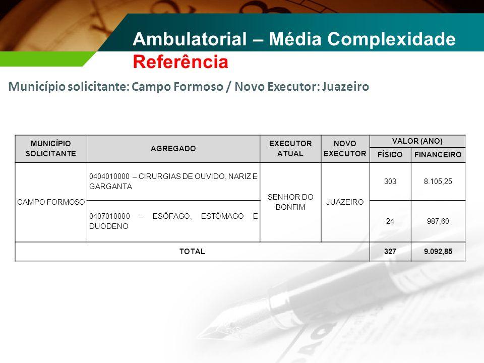 Município solicitante: Campo Formoso / Novo Executor: Juazeiro Ambulatorial – Média Complexidade Referência MUNICÍPIO SOLICITANTE AGREGADO EXECUTOR AT