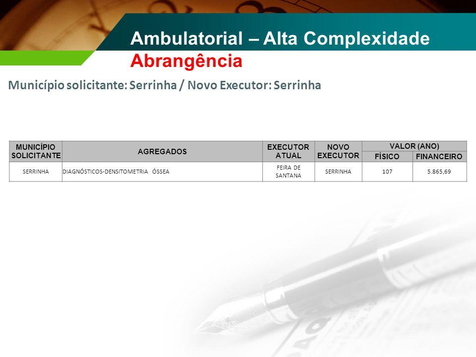 Ambulatorial – Alta Complexidade Abrangência Município solicitante: Serrinha / Novo Executor: Serrinha MUNICÍPIO SOLICITANTE AGREGADOS EXECUTOR ATUAL