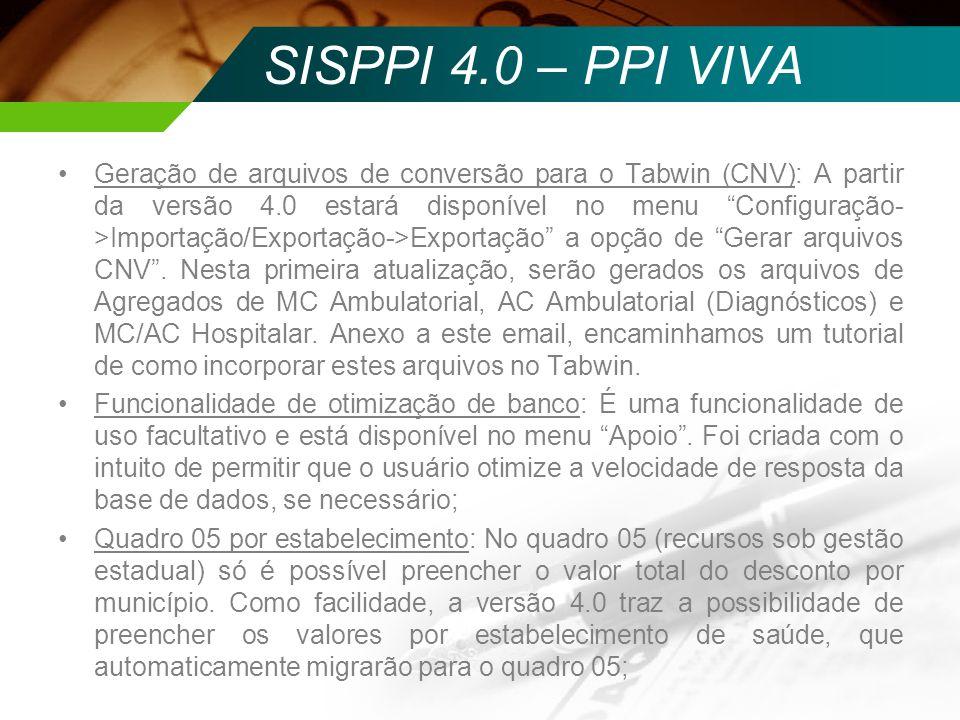 SISPPI 4.0 – PPI VIVA Geração de arquivos de conversão para o Tabwin (CNV): A partir da versão 4.0 estará disponível no menu Configuração- >Importação