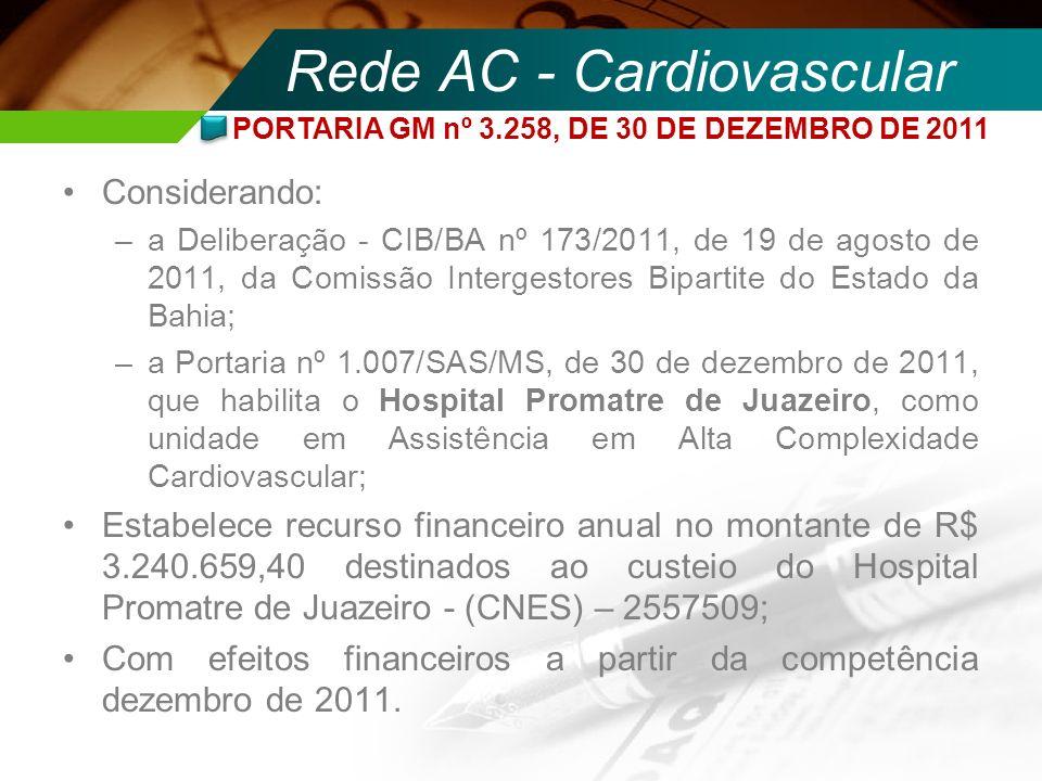 Rede AC - Cardiovascular Considerando: –a Deliberação - CIB/BA nº 173/2011, de 19 de agosto de 2011, da Comissão Intergestores Bipartite do Estado da