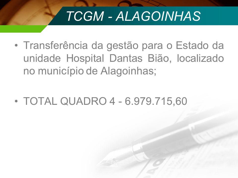 TCGM - ALAGOINHAS Transferência da gestão para o Estado da unidade Hospital Dantas Bião, localizado no município de Alagoinhas; TOTAL QUADRO 4 - 6.979
