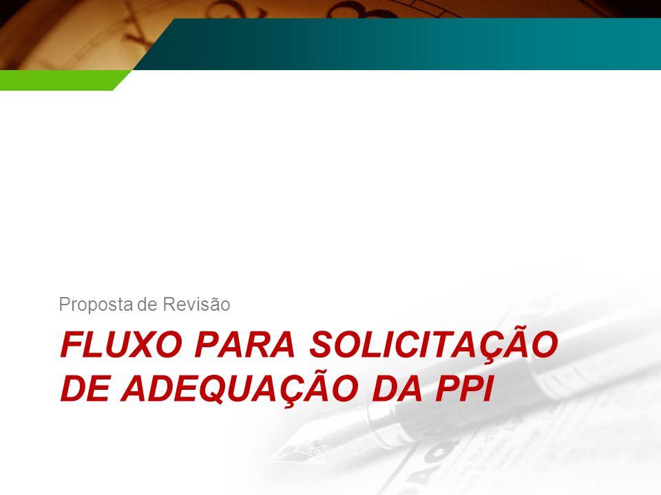 FLUXO PARA SOLICITAÇÃO DE ADEQUAÇÃO DA PPI Proposta de Revisão