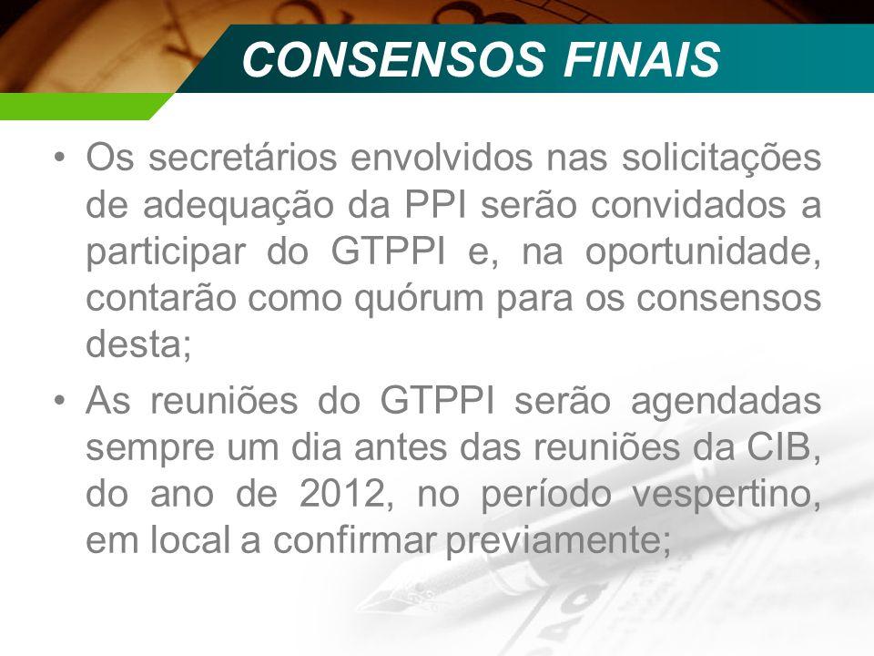 Os secretários envolvidos nas solicitações de adequação da PPI serão convidados a participar do GTPPI e, na oportunidade, contarão como quórum para os