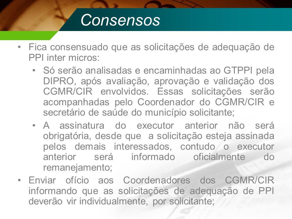 Consensos Fica consensuado que as solicitações de adequação de PPI inter micros: Só serão analisadas e encaminhadas ao GTPPI pela DIPRO, após avaliaçã