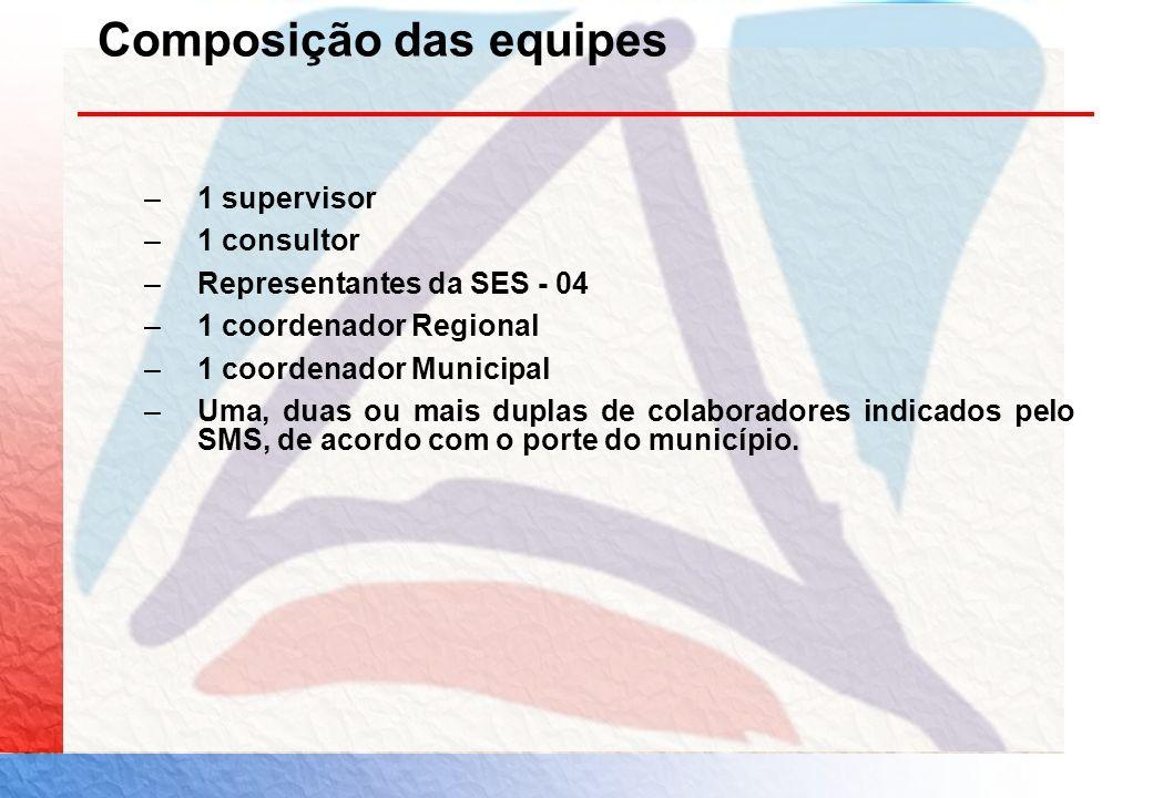 Composição das equipes –1 supervisor –1 consultor –Representantes da SES - 04 –1 coordenador Regional –1 coordenador Municipal –Uma, duas ou mais dupl