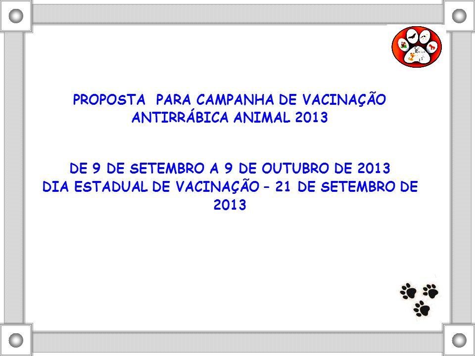 PROPOSTA PARA CAMPANHA DE VACINAÇÃO ANTIRRÁBICA ANIMAL 2013 DE 9 DE SETEMBRO A 9 DE OUTUBRO DE 2013 DIA ESTADUAL DE VACINAÇÃO – 21 DE SETEMBRO DE 2013