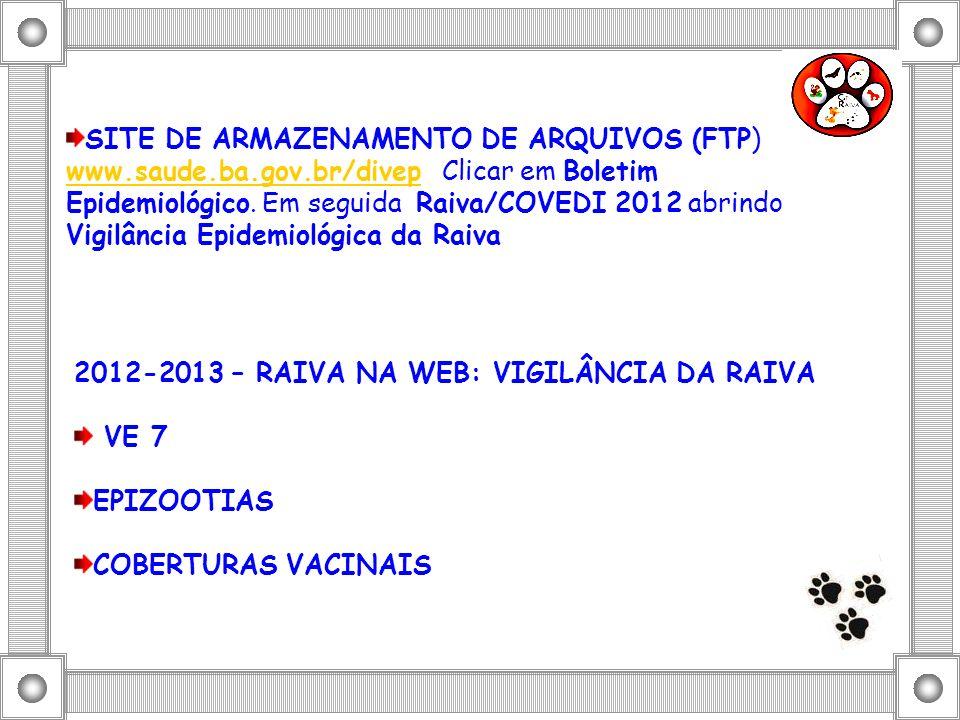 SITE DE ARMAZENAMENTO DE ARQUIVOS (FTP) www.saude.ba.gov.br/divep Clicar em Boletim Epidemiológico. Em seguida Raiva/COVEDI 2012 abrindo Vigilância Ep