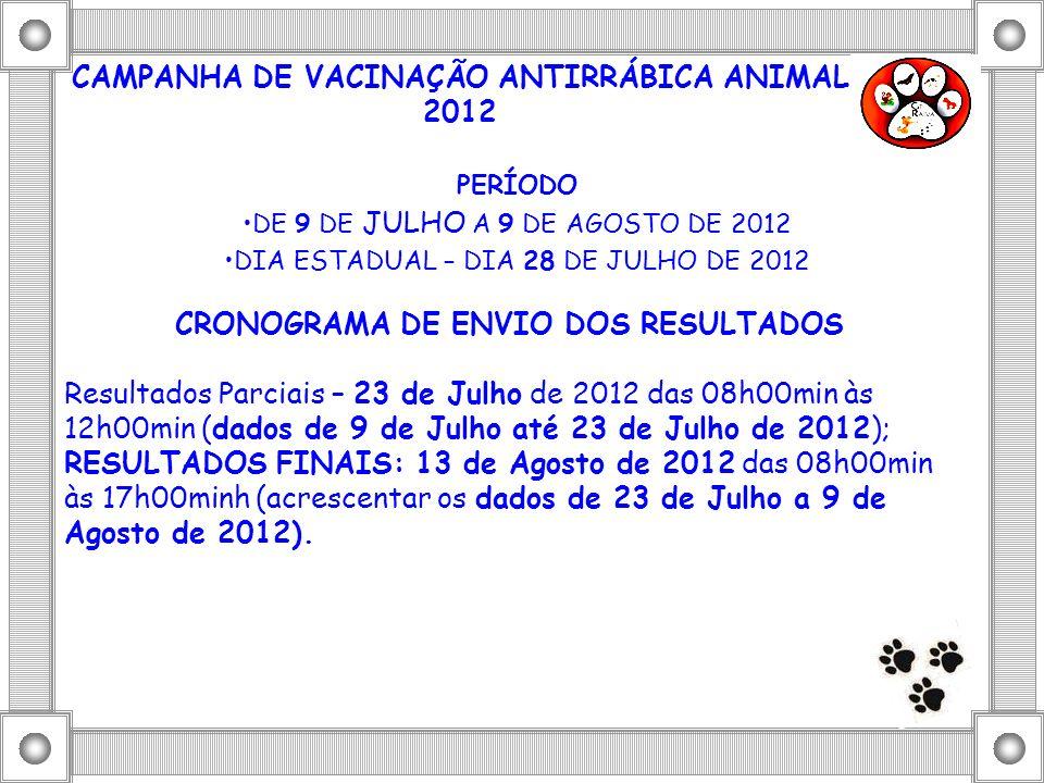 CAMPANHA DE VACINAÇÃO ANTIRRÁBICA ANIMAL 2012 PERÍODO DE 9 DE JULHO A 9 DE AGOSTO DE 2012 DIA ESTADUAL – DIA 28 DE JULHO DE 2012 CRONOGRAMA DE ENVIO D