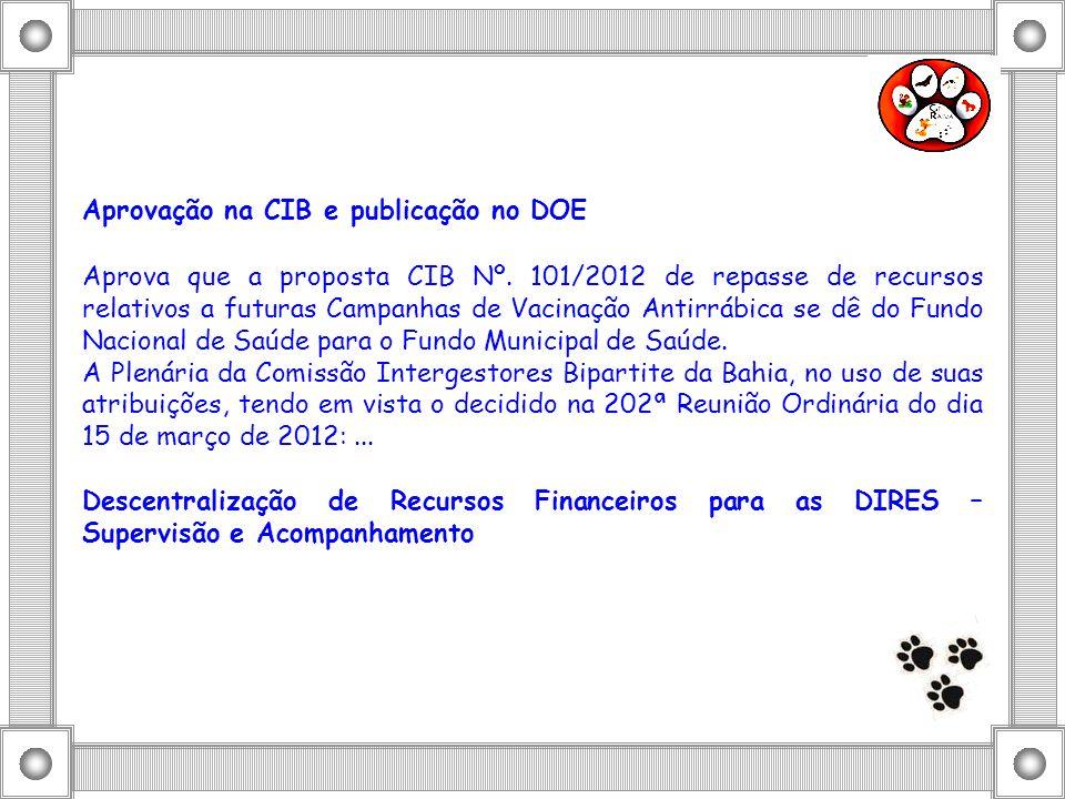 Aprovação na CIB e publicação no DOE Aprova que a proposta CIB Nº. 101/2012 de repasse de recursos relativos a futuras Campanhas de Vacinação Antirráb