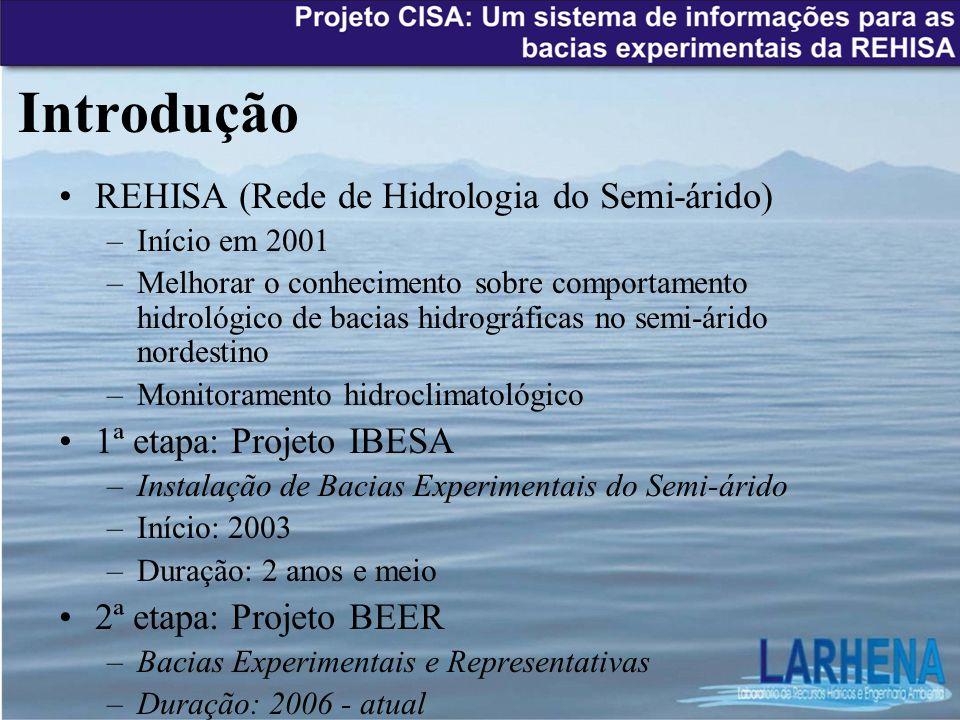 Introdução REHISA (Rede de Hidrologia do Semi-árido) –Início em 2001 –Melhorar o conhecimento sobre comportamento hidrológico de bacias hidrográficas