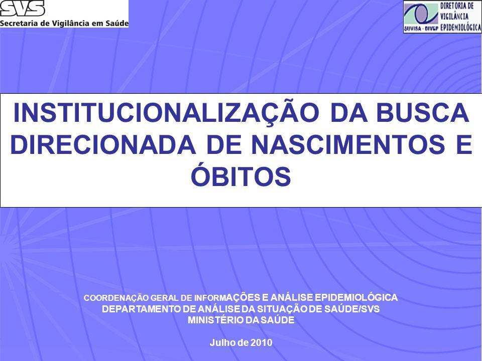 INSTITUCIONALIZAÇÃO DA BUSCA DIRECIONADA DE NASCIMENTOS E ÓBITOS COORDENAÇÃO GERAL DE INFORM AÇÕES E ANÁLISE EPIDEMIOLÓGICA DEPARTAMENTO DE ANÁLISE DA