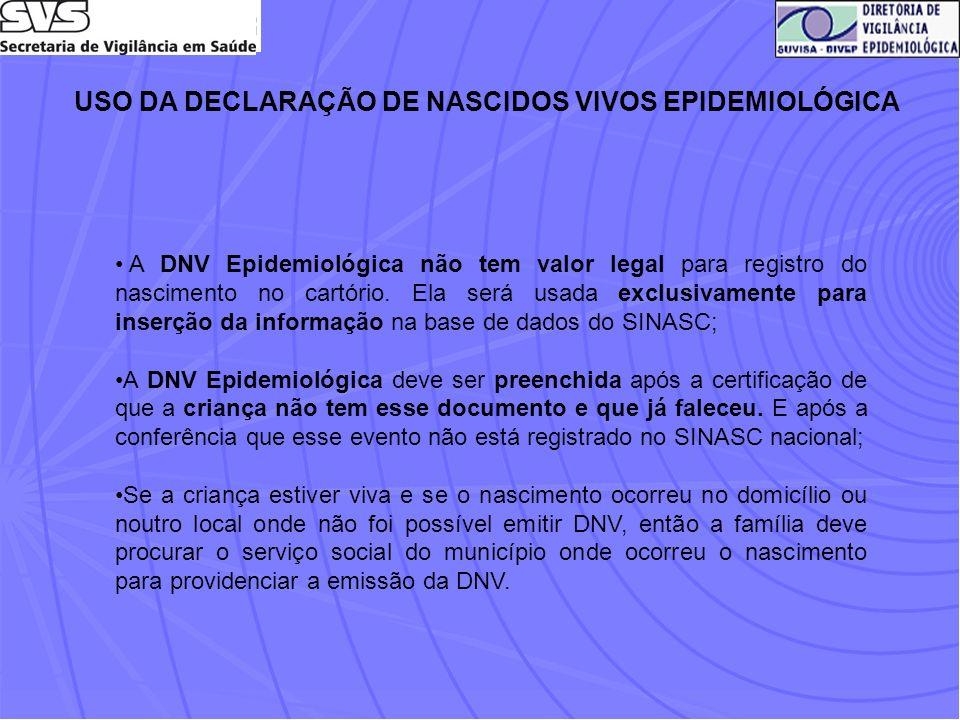 USO DA DECLARAÇÃO DE NASCIDOS VIVOS EPIDEMIOLÓGICA A DNV Epidemiológica não tem valor legal para registro do nascimento no cartório. Ela será usada ex