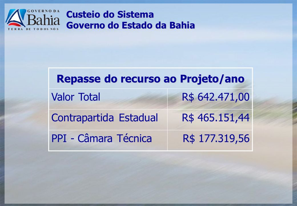 Custeio do Sistema Governo do Estado da Bahia Repasse do recurso ao Projeto/ano Valor TotalR$ 642.471,00 Contrapartida EstadualR$ 465.151,44 PPI - Câm