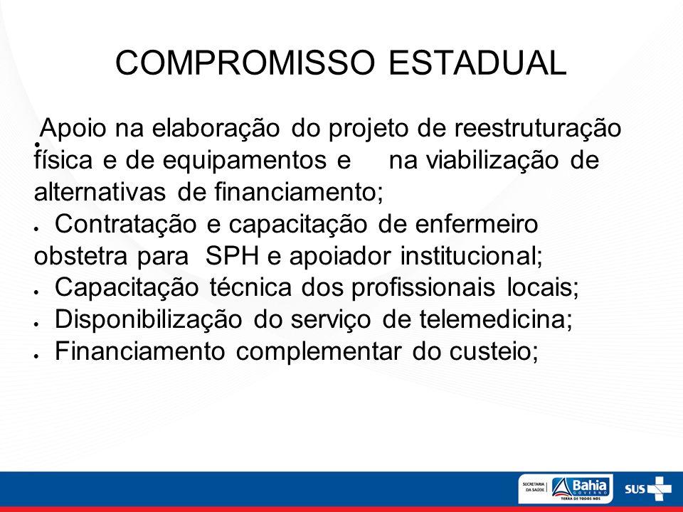 COMPROMISSO ESTADUAL Apoio na elaboração do projeto de reestruturação física e de equipamentos e na viabilização de alternativas de financiamento; Con