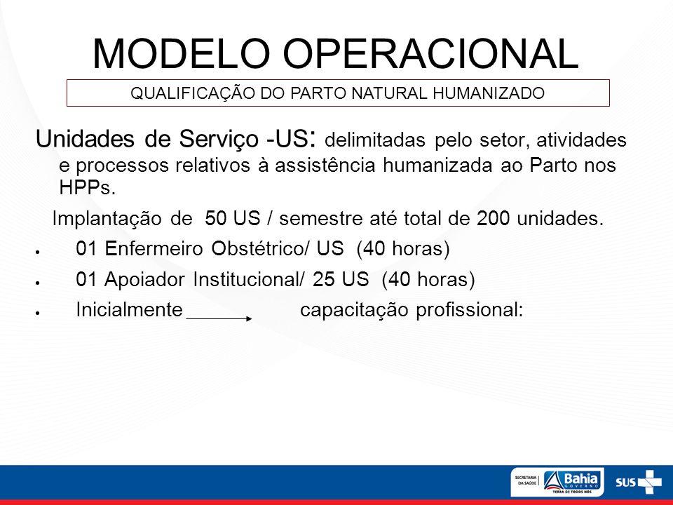 MODELO OPERACIONAL Unidades de Serviço -US : delimitadas pelo setor, atividades e processos relativos à assistência humanizada ao Parto nos HPPs. Impl