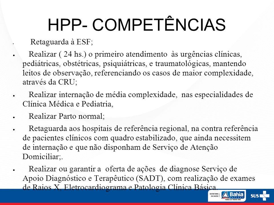 HPP- COMPETÊNCIAS Retaguarda à ESF; Realizar ( 24 hs.) o primeiro atendimento às urgências clínicas, pediátricas, obstétricas, psiquiátricas, e trauma