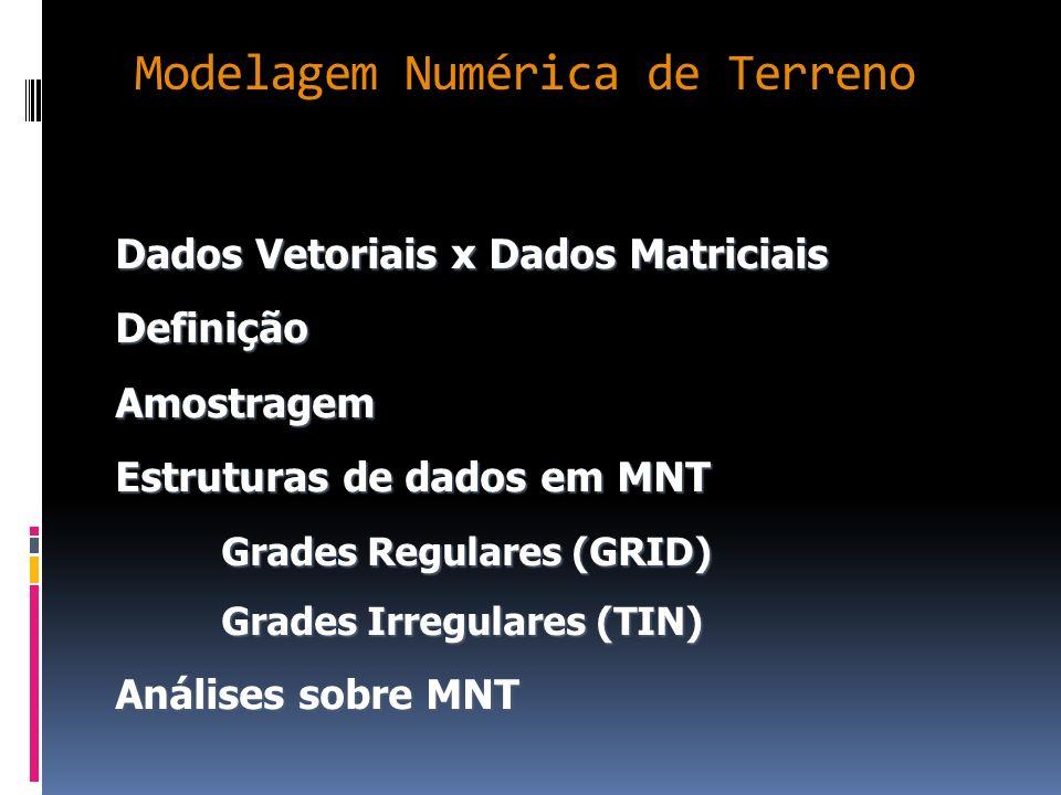 Estrutura de dados em MNT: TIN X GRID MNT A transformação de um modelo de grade triangular em retangular é útil quando se quer visualizar o modelo em projeção planar e o único modelo que se dispõe é o de grade triangular; O processo de visualização do MDT em projeção planar fornece um resultado mais realista quando se usa o modelo de grade regular ao invés da grade irregular;