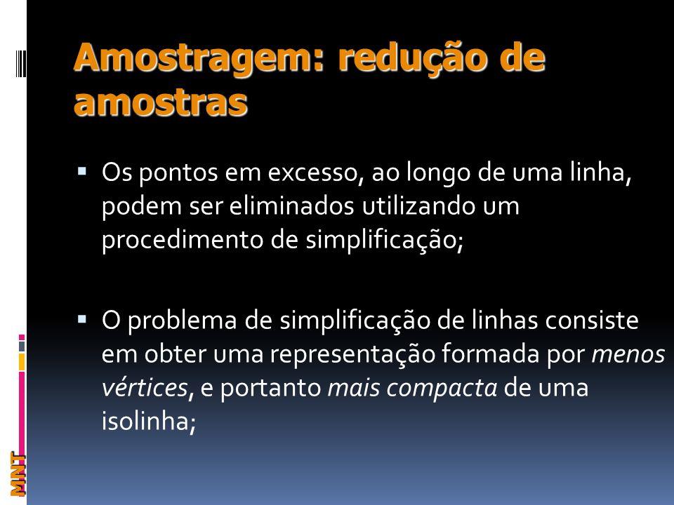 Amostragem: redução de amostras MNT Os pontos em excesso, ao longo de uma linha, podem ser eliminados utilizando um procedimento de simplificação; O problema de simplificação de linhas consiste em obter uma representação formada por menos vértices, e portanto mais compacta de uma isolinha;