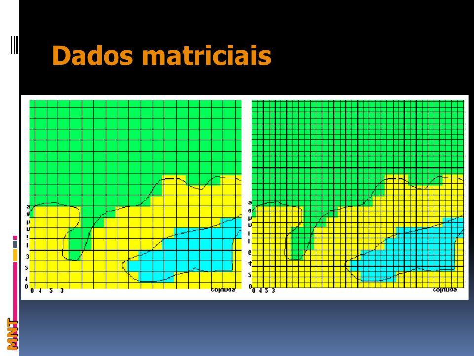 Modelagem Numérica de Terreno Dados Vetoriais x Dados Matriciais DefiniçãoAmostragem Estruturas de dados em MNT Grades Regulares (GRID) Grades Irregulares (TIN) Análises sobre MNT