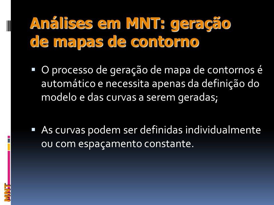 Análises em MNT: geração de mapas de contorno MNT O processo de geração de mapa de contornos é automático e necessita apenas da definição do modelo e das curvas a serem geradas; As curvas podem ser definidas individualmente ou com espaçamento constante.