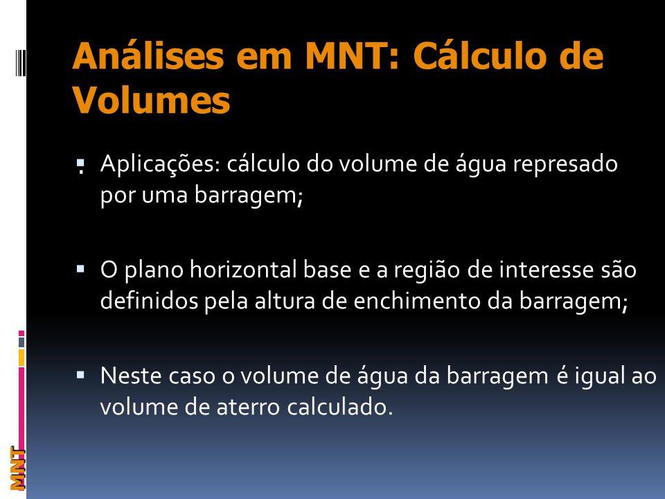 MNT. Aplicações: cálculo do volume de água represado por uma barragem; O plano horizontal base e a região de interesse são definidos pela altura de en