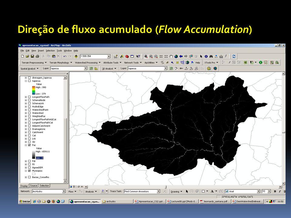 Direção de fluxo acumulado (Flow Accumulation)