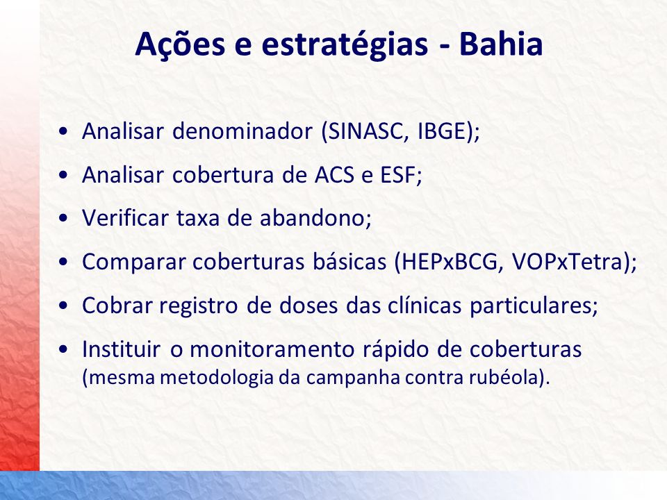 Ações e estratégias - Bahia Analisar denominador (SINASC, IBGE); Analisar cobertura de ACS e ESF; Verificar taxa de abandono; Comparar coberturas bási