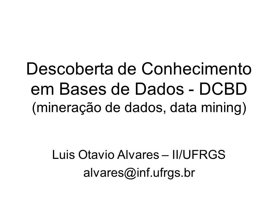 Descoberta de Conhecimento em Bases de Dados - DCBD (mineração de dados, data mining) Luis Otavio Alvares – II/UFRGS alvares@inf.ufrgs.br