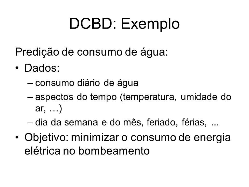 DCBD: Exemplo Predição de consumo de água: Dados: –consumo diário de água –aspectos do tempo (temperatura, umidade do ar, …) –dia da semana e do mês,