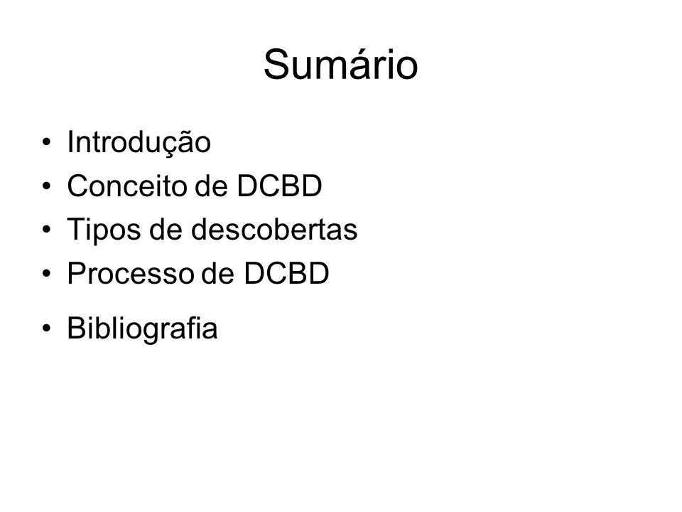 Sumário Introdução Conceito de DCBD Tipos de descobertas Processo de DCBD Bibliografia