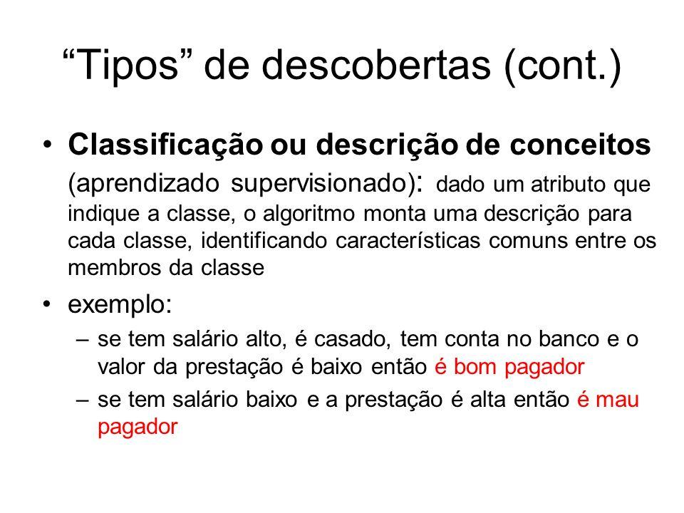 Tipos de descobertas (cont.) Classificação ou descrição de conceitos (aprendizado supervisionado) : dado um atributo que indique a classe, o algoritmo