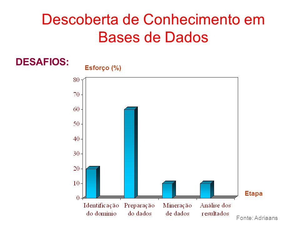 DESAFIOS: Descoberta de Conhecimento em Bases de Dados Esforço (%) Etapa Fonte: Adriaans