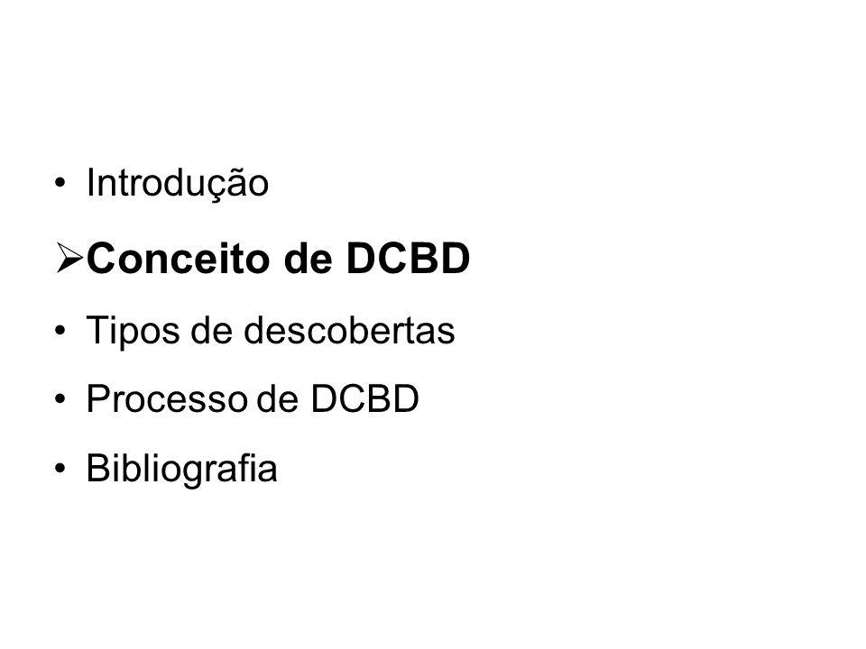 Introdução Conceito de DCBD Tipos de descobertas Processo de DCBD Bibliografia